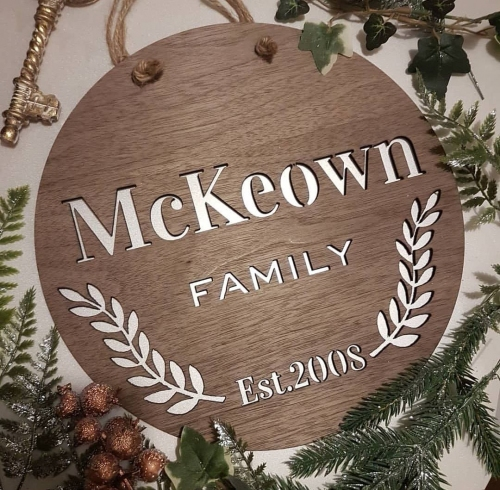 Our family plaques are a great addition to any family home. Include them as part of  a gallery wall or have them proudly hung alone. The design includes 2 laurel leaf branches surrounding names/surname and/or special date. The family plaques are laser cut from a choice of birch, oak or walnut wood. The family plaques are available in 3 sizes with the option to be hung with rustic twin or left plain with no holes.
