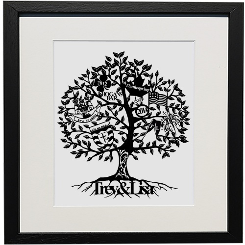 The Signature Family Tree is a perfect gift for any occasion.The simple but detailed design allows all of your information to be captured elegantly within the leaves, creating a truly unique gift that will be cherished for generations. Allow us to craft your next personalised gift, they are stunning gifts to receive and really create that wow factor, even if it is for yourself! Our designs are cut from pearl paper and hand finished to ensure the highest quality. Each piece is then professionally secured onto the background of choice & mounted between a backboard and a luxury 'vintage white' mount. If you choose to frame your gift our solid wood frames are handcrafted by Nigel & Martina, a husband & wife team of certifiedFine Art Trade Guild Commended Framers. Our particular frames are made from solid pear tree & oak. If you have specific frame choices not provided above please get in touch so we can accommodate you.